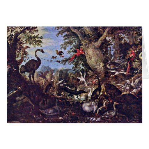 Pájaros en un paisaje de Roelant Savery Tarjeta De Felicitación