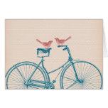 Pájaros en una bicicleta tarjetón