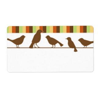 Pájaros en una etiqueta del alambre etiqueta de envío