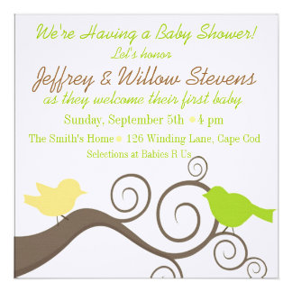 Pájaros en una rama en amarillo y cal invitaciones personales