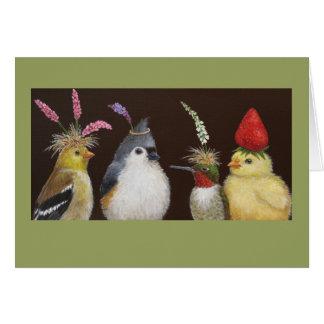 pájaros en una tarjeta del fiesta