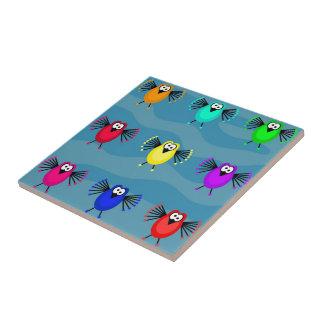 Pájaros enrrollados azulejo cuadrado pequeño