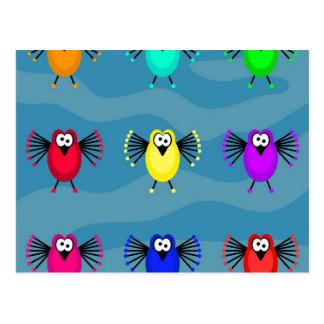 Pájaros enrrollados postales
