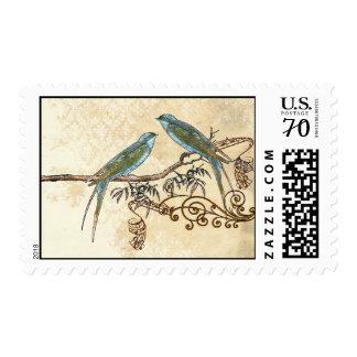 Pájaros esmeralda del amor del vintage que casan envio