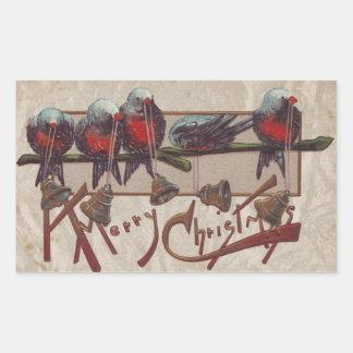 Pájaros felices de Navidad Pegatina Rectangular