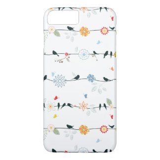 Pájaros femeninos en un alambre y flores funda iPhone 7 plus