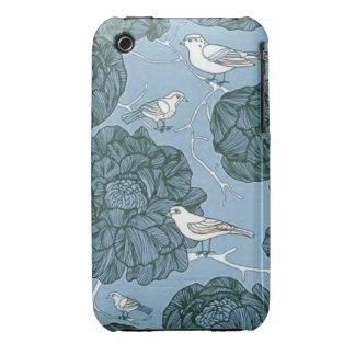 Pájaros florales del vintage Case-Mate iPhone 3 fundas