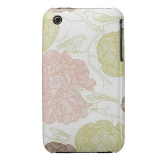 Pájaros florales del vintage iPhone 3 fundas