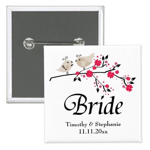 Pájaros florales personalizados de la novia que ca pin cuadrado