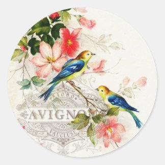Pájaros franceses románticos del vintage inmóviles pegatina redonda