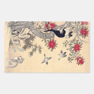 Pájaros, gato y perro, Itō Jakuchū Pegatina Rectangular