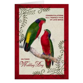 Pájaros gay del amor del vintage de la enhorabuena tarjeta de felicitación