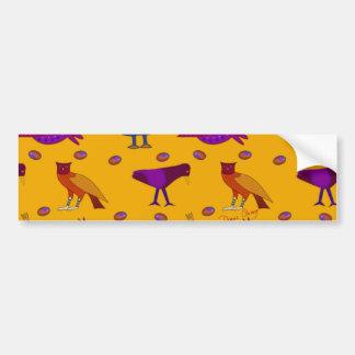 Pájaros - halcones púrpuras abstractos y pollos az etiqueta de parachoque