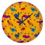 Pájaros - halcones púrpuras abstractos y pollos az reloj