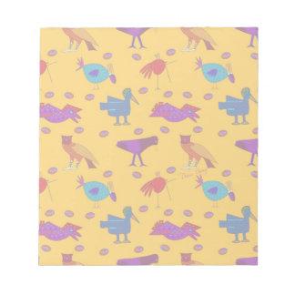Pájaros - halcones púrpuras abstractos y pollos bloc