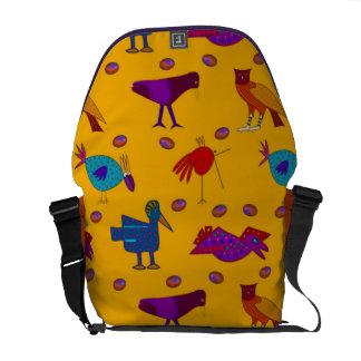 Pájaros - halcones púrpuras abstractos y pollos bolsas de mensajeria