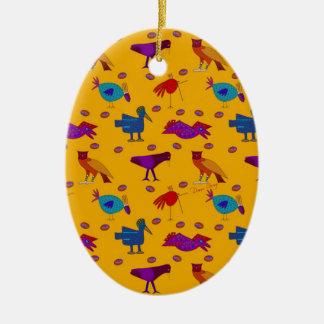 Pájaros - halcones púrpuras abstractos y pollos adorno ovalado de cerámica