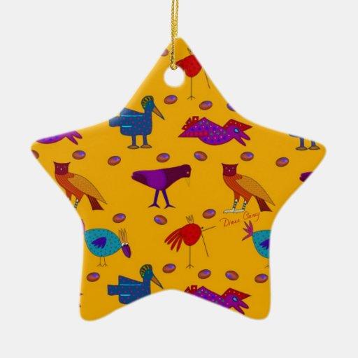 Pájaros - halcones púrpuras abstractos y pollos ornamento de reyes magos