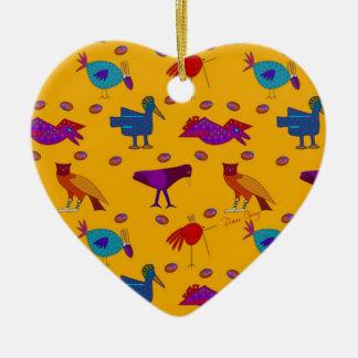 Pájaros - halcones púrpuras abstractos y pollos adorno de cerámica en forma de corazón