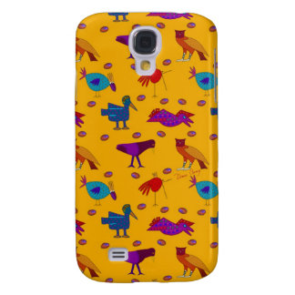 Pájaros - halcones púrpuras abstractos y pollos funda samsung s4