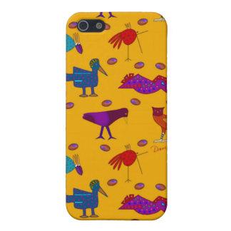 Pájaros - halcones púrpuras abstractos y pollos iPhone 5 carcasa