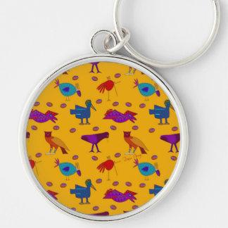 Pájaros - halcones púrpuras abstractos y pollos llavero redondo plateado