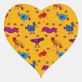 Pájaros - halcones púrpuras abstractos y pollos pegatina en forma de corazón