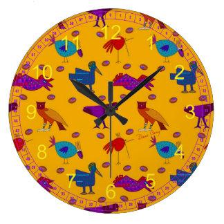 Pájaros - halcones púrpuras abstractos y pollos reloj redondo grande