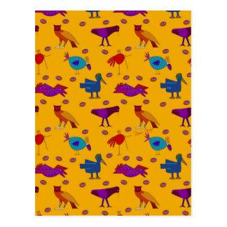 Pájaros - halcones púrpuras abstractos y pollos tarjeta postal