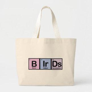 Pájaros hechos de elementos bolsa tela grande