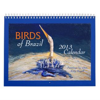 PÁJAROS hermosos del calendario del Brasil 2013