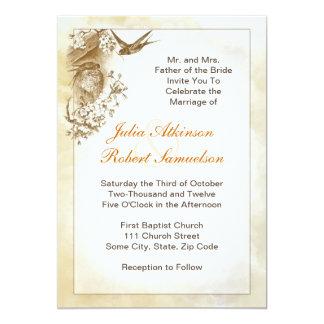 pájaros hermosos del trago que casan la invitación invitación 12,7 x 17,8 cm