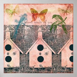 Pájaros inspirados con las casas del pájaro poster