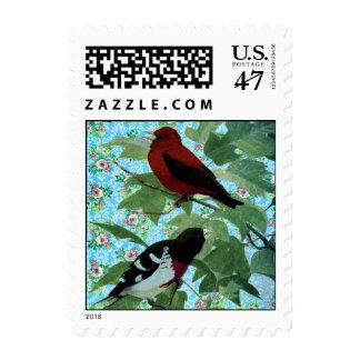 Pájaros inspirados del jardín sellos postales