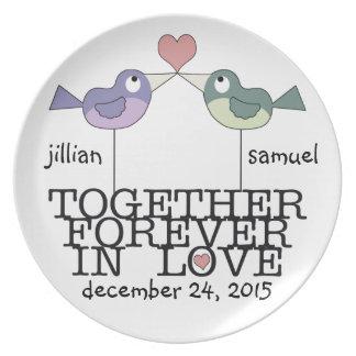 Pájaros-Junto personalizados del amor para siempre Plato