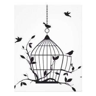 Pájaros libres con el birdcage abierto plantilla de membrete