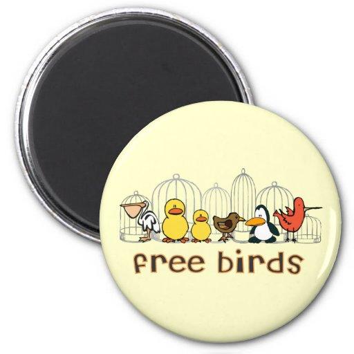 Pájaros libres imán redondo 5 cm