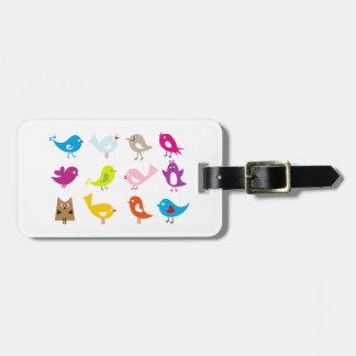 Pájaros lindos coloridos etiquetas de equipaje