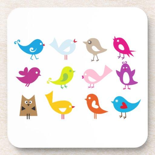 Pájaros lindos coloridos posavasos