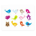 Pájaros lindos coloridos tarjeta postal