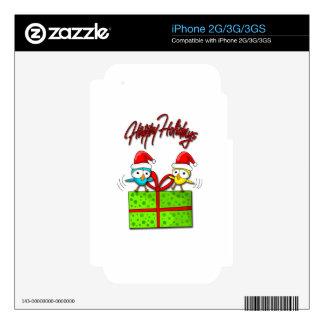 Pájaros lindos de Navidad Calcomanía Para iPhone 3