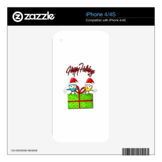 Pájaros lindos de Navidad iPhone 4S Skins