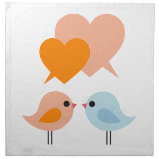 Pájaros lindos del amor con las burbujas del discu servilletas
