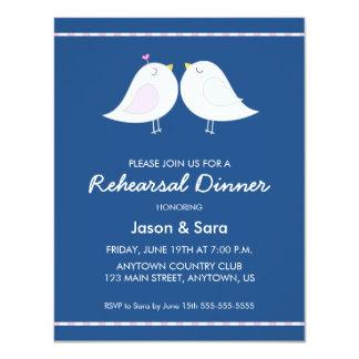 """Pájaros lindos del amor en cena del ensayo de los invitación 4.25"""" x 5.5"""""""
