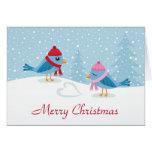 Pájaros lindos del amor en la tarjeta de las Felic