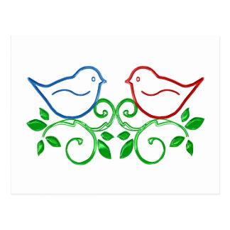 Pájaros lindos del amor tarjeta postal