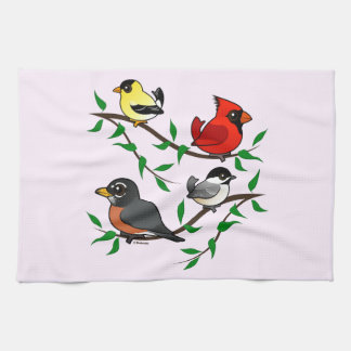 Pájaros lindos del patio trasero toallas de cocina