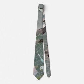 Pájaros marinos del vintage, gaviotas que vuelan corbatas personalizadas