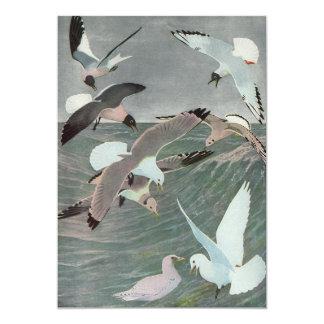 Pájaros marinos del vintage, gaviotas que vuelan anuncio personalizado