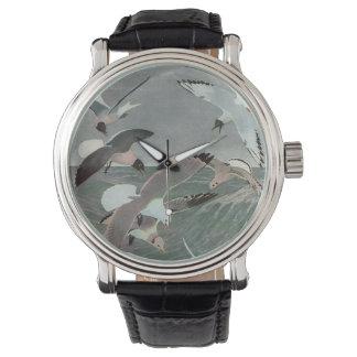 Pájaros marinos del vintage, gaviotas que vuelan relojes de pulsera